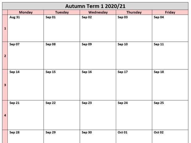 2020/21 Term Calendars