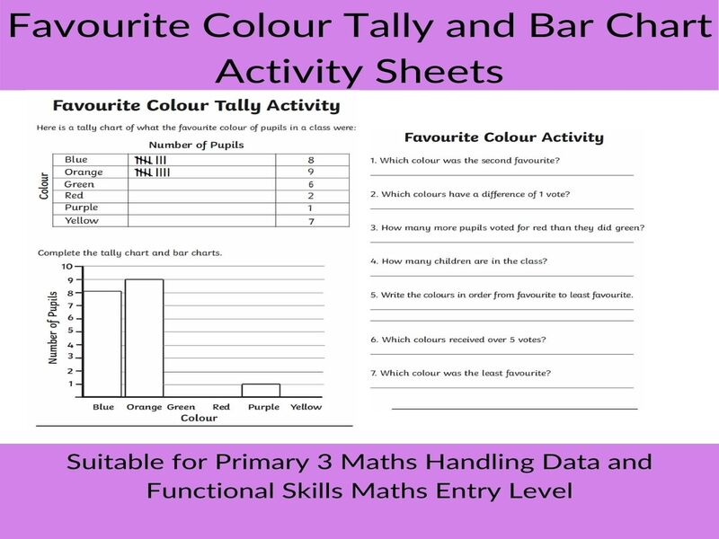 Primary Maths - Favourite Colour Tally and Bar Chart Activity Sheets
