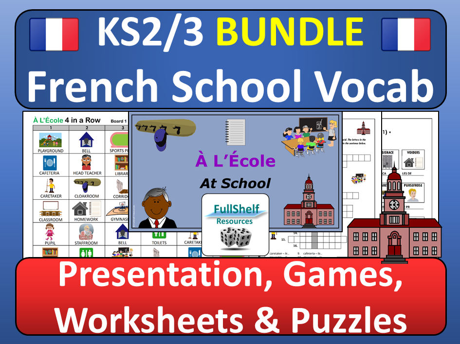 French School Vocabulary Ecole BUNDLE