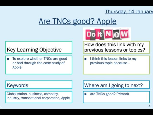 The role of TNCs: Apple