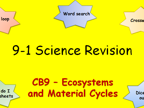 Edexcel CB9 Ecosytems and Material Cyles Revision pack Science 9-1