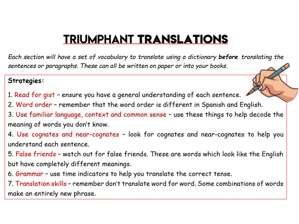 Triumphant Translations Worksheet - Module 1 - Holidays