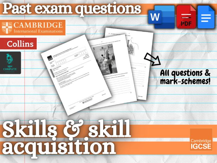 IGCSE PE - PAST EXAM QUESTIONS and mark schemes - CHAPTER 8 (Skills and Skill Acquisition)