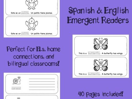 Spring bilingual emergent reader - Spanish & English