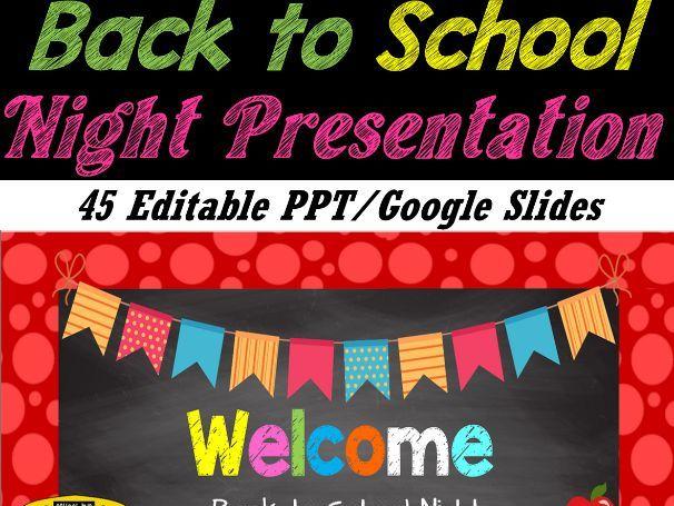 Back to School Night Presentation/ Meet the Teacher / Open House - PPT/Google Slides