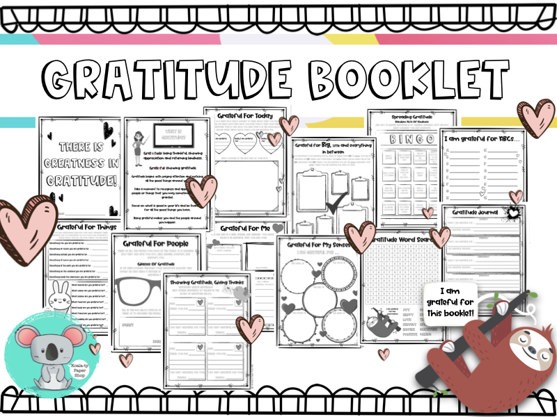 Gratitude Booklet - Being Thankful Worksheets And Activities