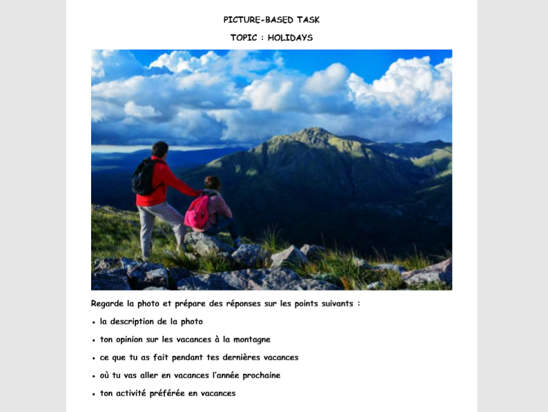 French GCSE Speaking Practice Holiday