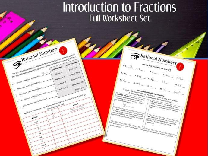 Introduction to FRACTIONS--Full worksheet Set