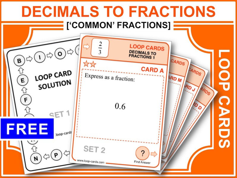 Decimals to Fractions (Loop Cards)