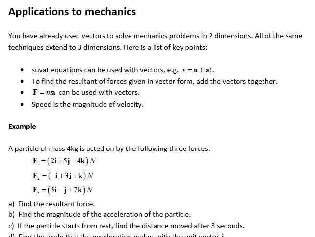 Edexcel New Linear Maths A Level Year 2 Topic 12: Vectors