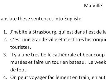 A translation task from French into English about local area