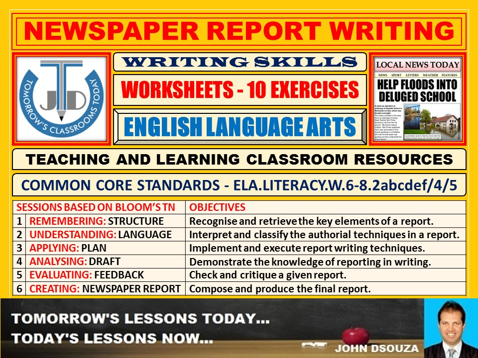NEWSPAPER REPORT WRITING: 10 WORKSHEETS WITH ANSWERS
