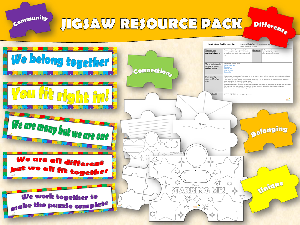 ELSA SUPPORT - JIGSAW DISPLAY AND ACTIVITY PACK FOR BELONGING. SELF ESTEEM
