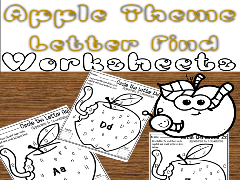 Apple Theme Find ABC Worksheets For Kids