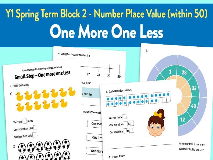 One More One Less activities: Y1 Spring Term, Block 2 – Number: Place Value (within 50)