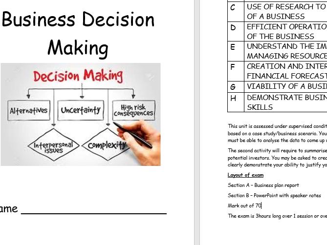 Unit 7 - Business Decision Making workbook