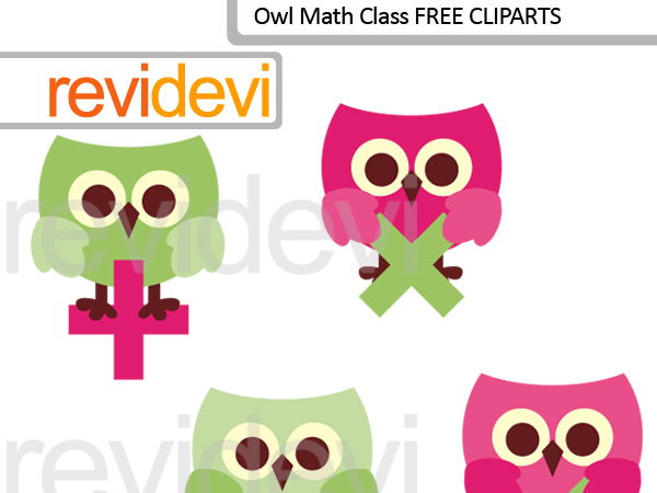 Owl clip art / Cute owl math class clipart (set of 4) pink lime / FREE