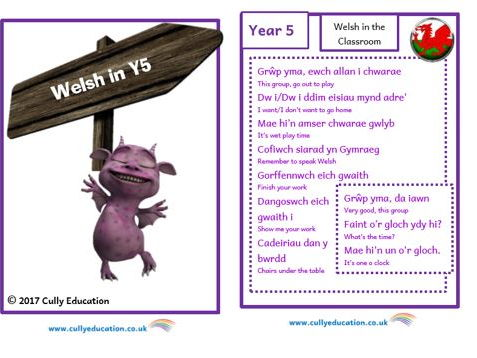 Incidental Welsh Booklet for the Y5 Classroom