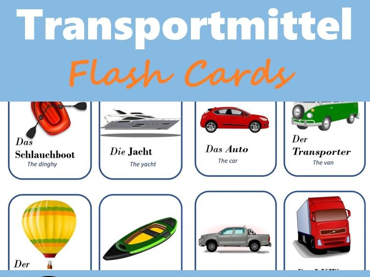 Transportmittel: The German transportation (Flash Cards)