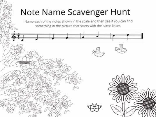 Sample Music Scavenger Hunt worksheet beginner level