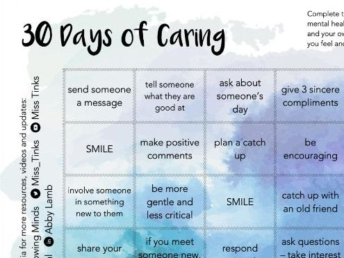 30 Days of Caring - Wellbeing