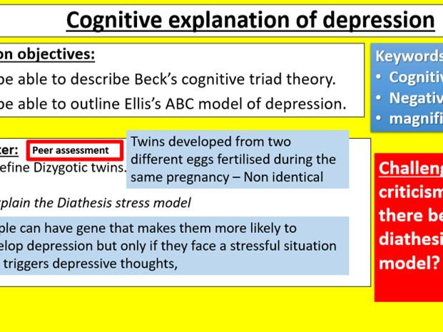 GCSE Edexcel Psychology (9-1): Topic 3: Psychological problems, Lesson 3:Cognitive & depression?