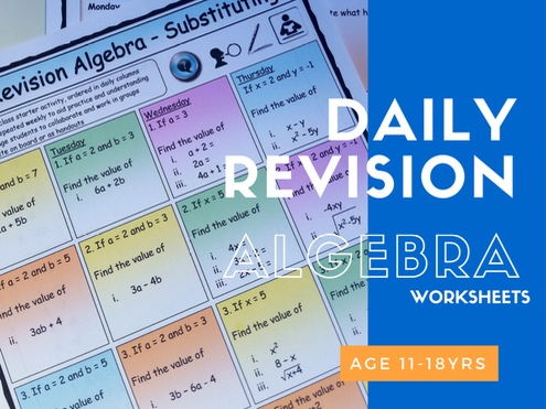 Maths Daily Revision Worksheets - ALGEBRA - FULL SET -  Add |  Subtract |  Multiplying |  Dividing |