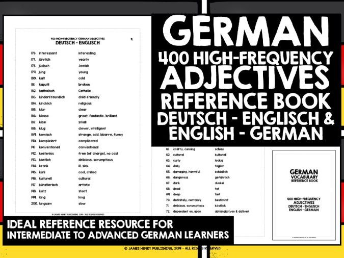 GERMAN ADJECTIVES REFERENCE BOOK #1