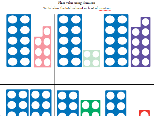 Teen numbers and Place Value using numicon - what's my number?