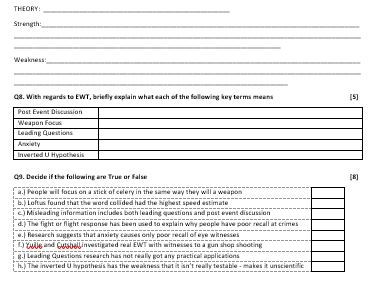 MEMORY - End of Topic points test / Short Gap Fill Test - AQA Psychology (new spec) Year 1