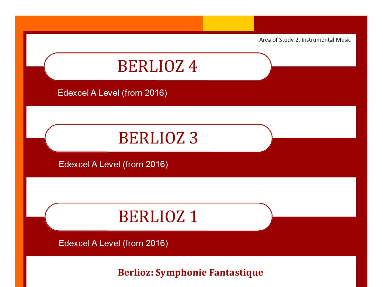 Edexcel Music A Level bundle of Berlioz 1,3 and 4.