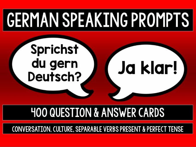 GERMAN SPEAKING PRACTICE - 400 PROMPT CARDS WITH REFERENCE BOOKLETS - SETS 1-4