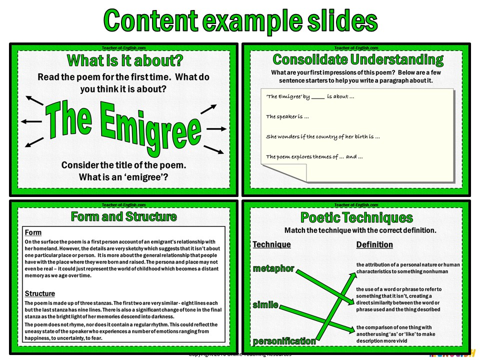 The Emigree by Carol Rumens (PowerPoint and worksheets)