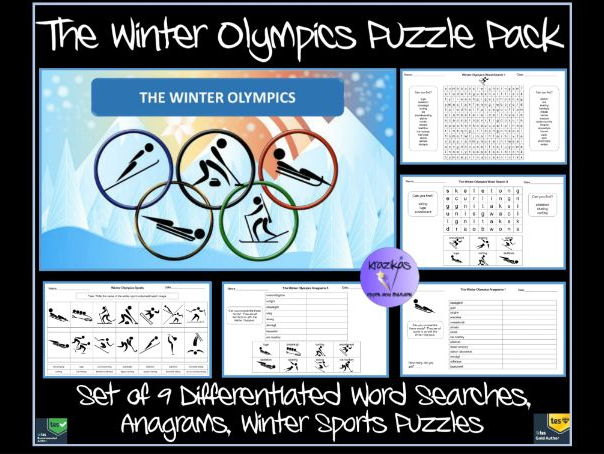 Winter Olympics 2018 Sports Puzzle Pack - 9 Differentiated Word Searches, Anagrams, Sports Puzzles
