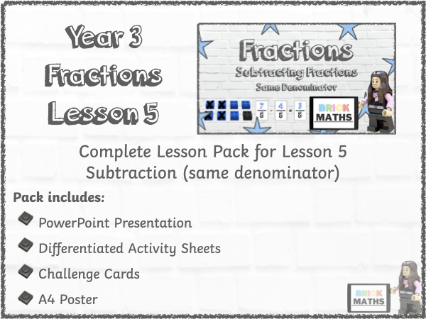Y3 Fractions Lesson 5 - Subtraction - Year 3
