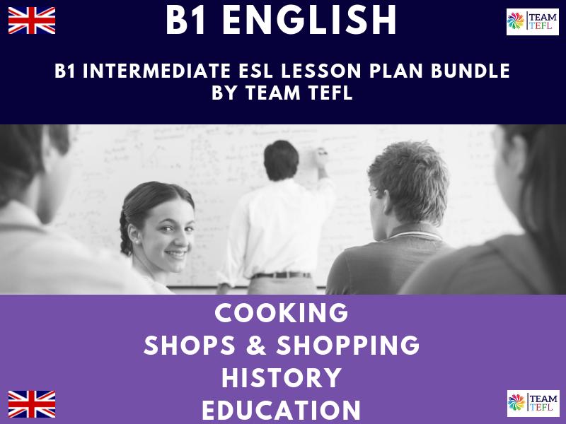 Cooking / History / Education / Shops & Shopping B1 Intermediate ESL Lesson Plan
