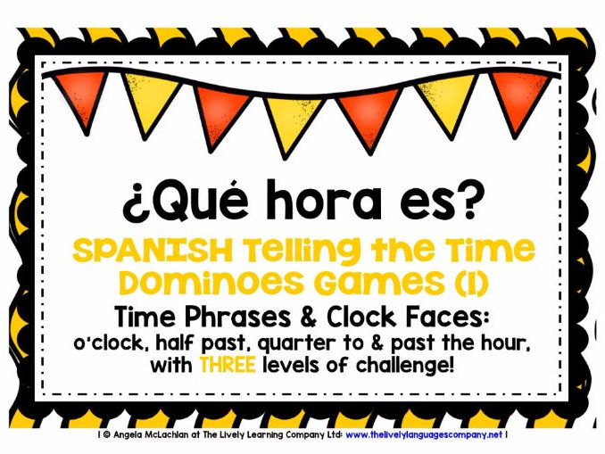 SPANISH TELLING THE TIME (1) - 3 DIFFERENTIATED DOMINOES GAMES