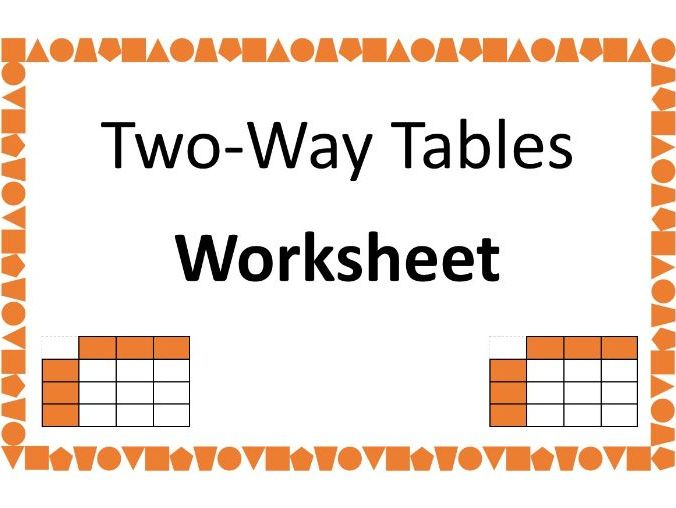 Two-Way Tables Worksheet with answers