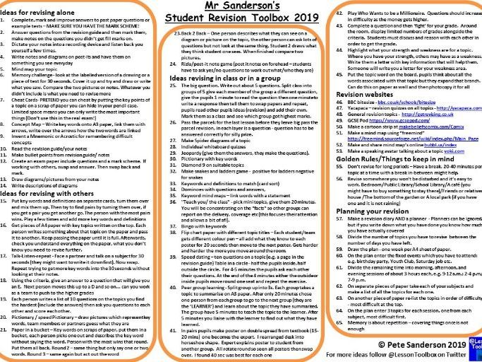 Student Revision Toolbox