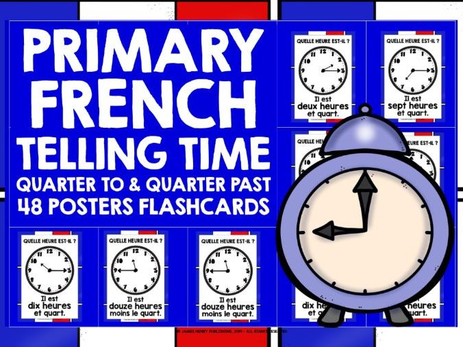 PRIMARY FRENCH TELLING TIME POSTERS FLASHCARDS #2