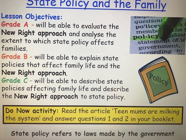 Year 13 Sociology Family Revision - State Policy