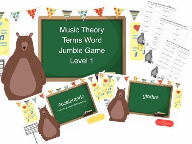 Music Theory Word jumble PowerPoint game and pdf sheet grade 1 bear motif,