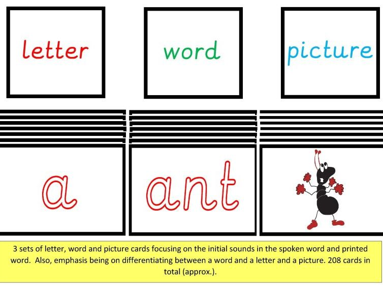 Letter, Word and Picture Cards