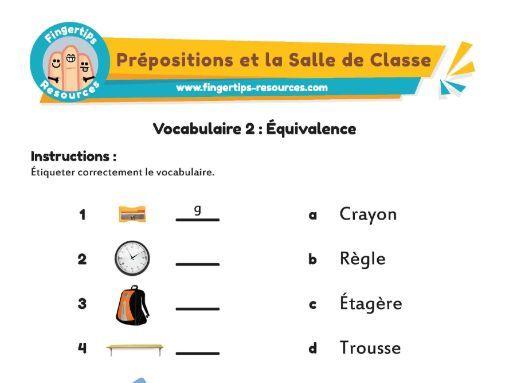 La Salle de Classe - Vocab Matching