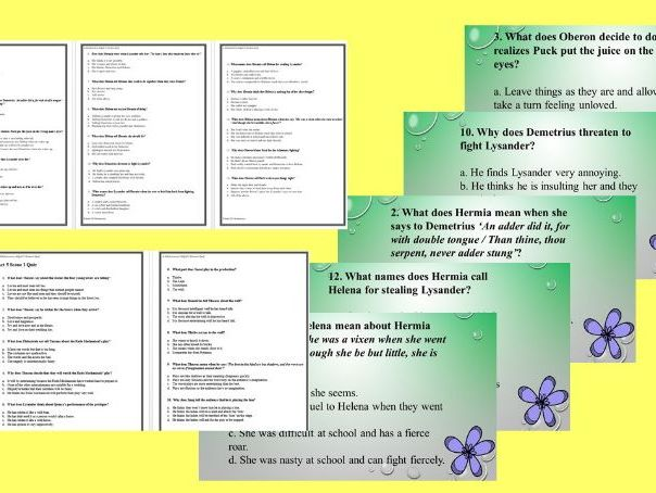 A Midsummer Night's Dream Scene by Scene Multiple Choice Quizzes and Tests