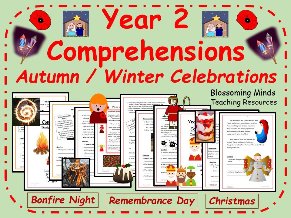 Year 2 Comprehensions - Celebrations in Autumn and Winter - Bonfire Night, Remembrance Day, Christmas - 3 levels
