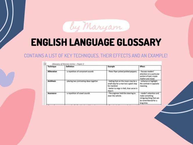 English Language Glossary
