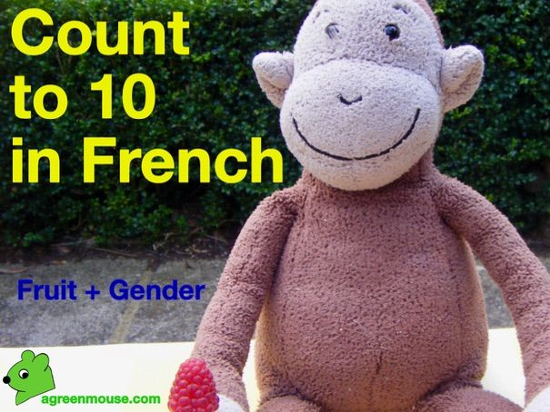 Count to 10 in French with fruit and a monkey - Video + Worksheet