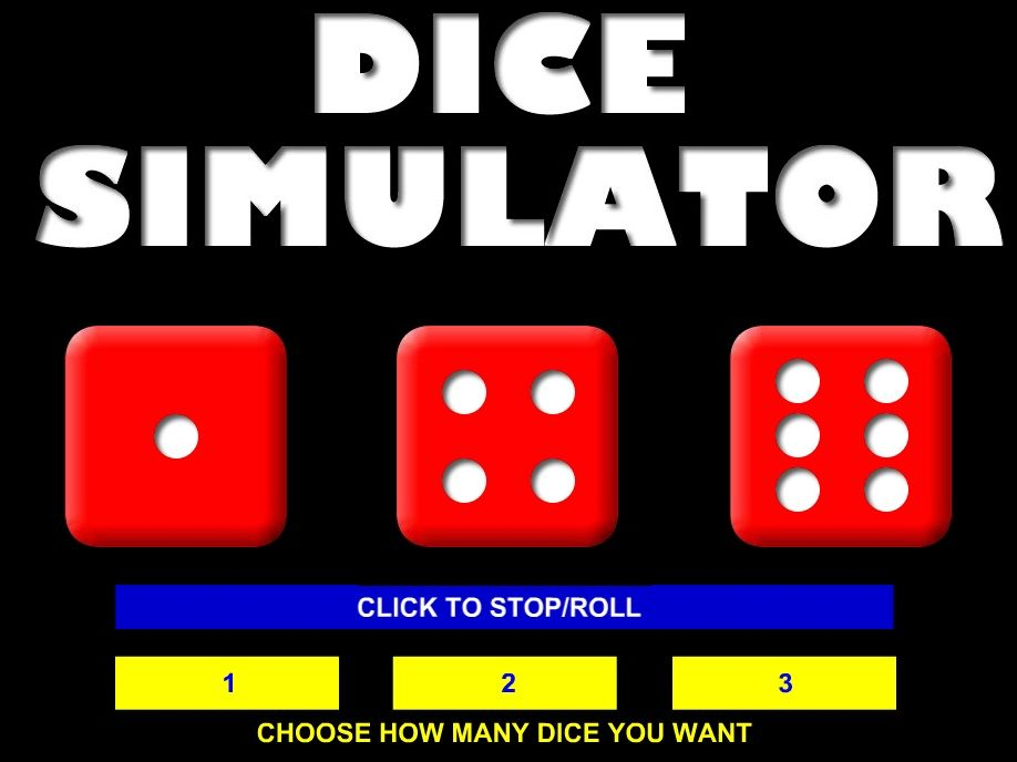 DICE SIMULATOR - Simulate the throwing of up to 3 dice for classroom activities