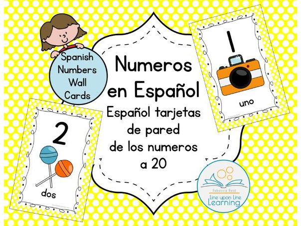 Spanish Number Wall Cards to 20 YELLOW